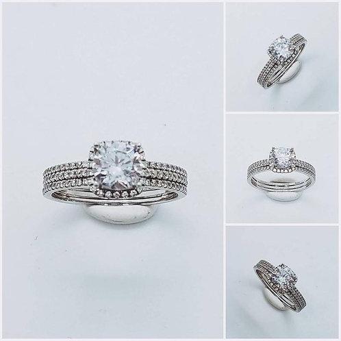 Studiodragonfly19 Gem Memorial Ash Halo 14kt Round CZ Diamond Cremation Ring