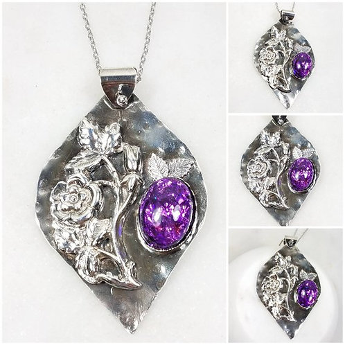 Artisan Pure Silver Floral Vine Oval Memorial Ash Pendant Necklace