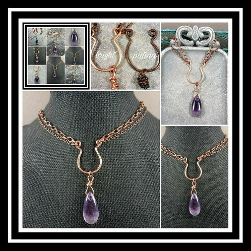 Cremation Memorial Ash Hammered Copper Tear Drop Amethyst Artisan Necklace/Patin