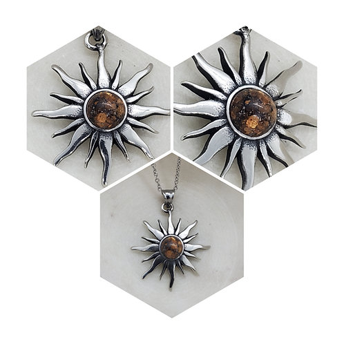 Memorial Cremation Stainless Steel Sun Pendant Necklace