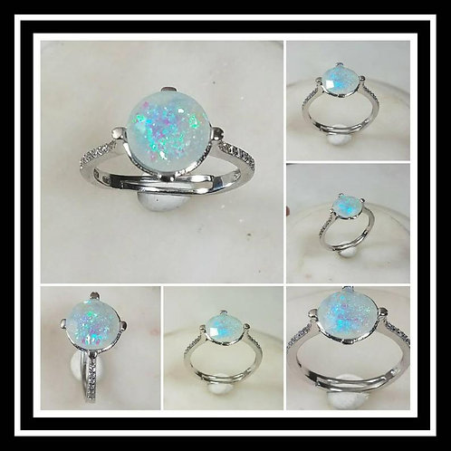 Sterling Silver Cubic Zirconia Memorial Stone Ring/Memorial Ash Jewelry/Pet Memo