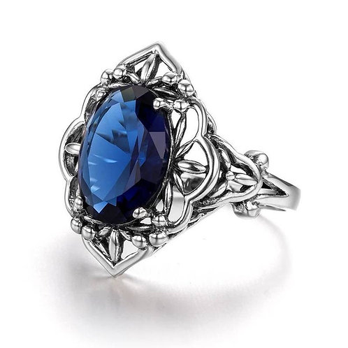 Studiodragonfly19 Gem Stone Memorial Ash Sterling Silver Sapphire Cremation Ring