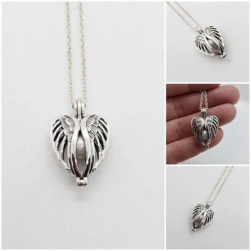 Studiodragonfly19 Memorial Ash Sterling Silver Winged Heart Locket Cremation
