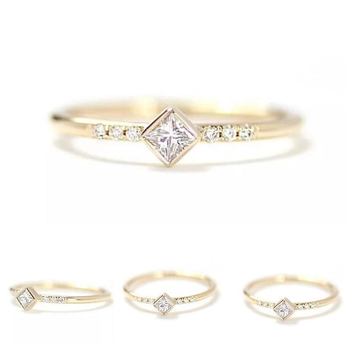 Memorial Ash Minimalist Gold Sterling Silver Princess CZ Bezel Ring