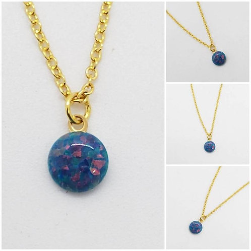 Studiodragonfly19 Cremation Synthetic Opal Birthstone Memorial Ash Pendant