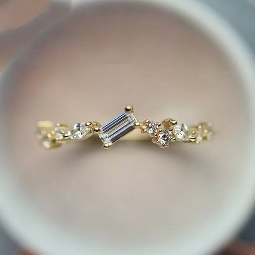 Memorial Ash Minimalist Gold Sterling Silver Diamond CZ Baguette Leaf Ring