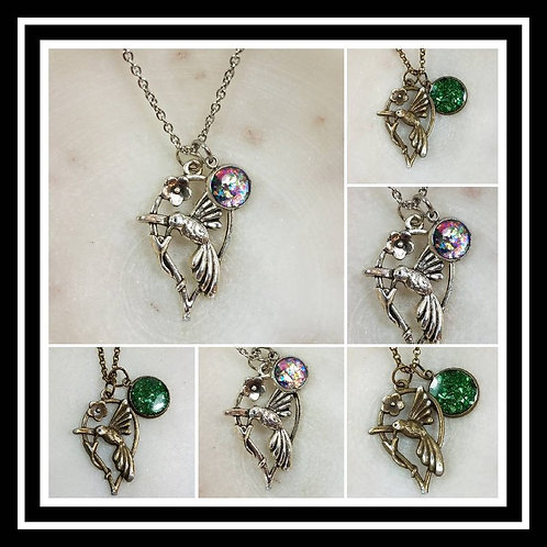 Memorial Ash Bronze or Silver Hummingbird Necklace/Cremation Pendant/ Pet Memori