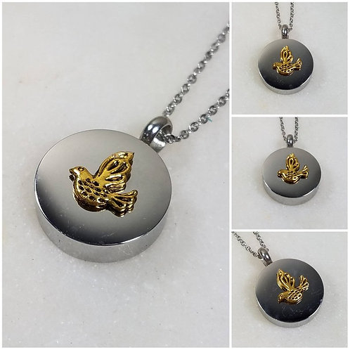 Memorial Ash Stainless Steel Cremation Bird Necklace/Cremation Pendant/Cremation