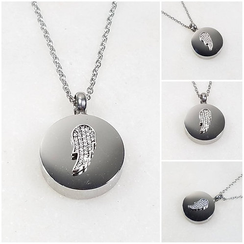 Memorial Ash Stainless Steel Cremation Round Urn 925 CZ Wing Necklace/Cremation