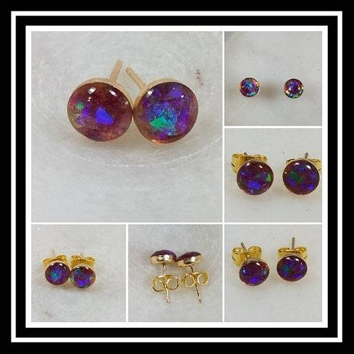 14k Gold and Rose Filled Memorial Ash Bezel Earrings