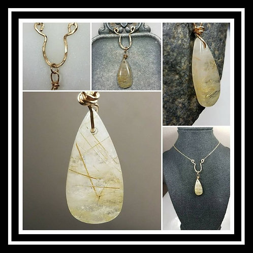 Memorial Cremation Ash Hammered Gold Filled Rutilated Quartz Artisan Necklace/Go