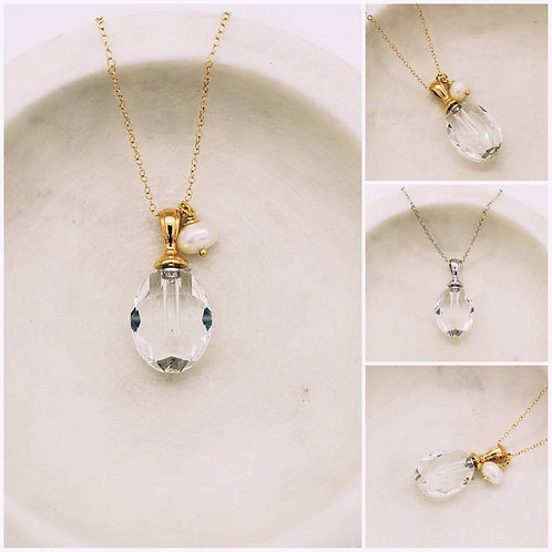 Memorial Cremation Faceted Glass Urn Pendant/Memorial Ash Glass Urn Necklace