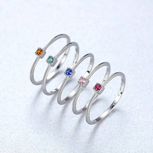 Studiodragonfly19 Memorial Cremation Minimalist Stacking Birthstone CZ Ring/