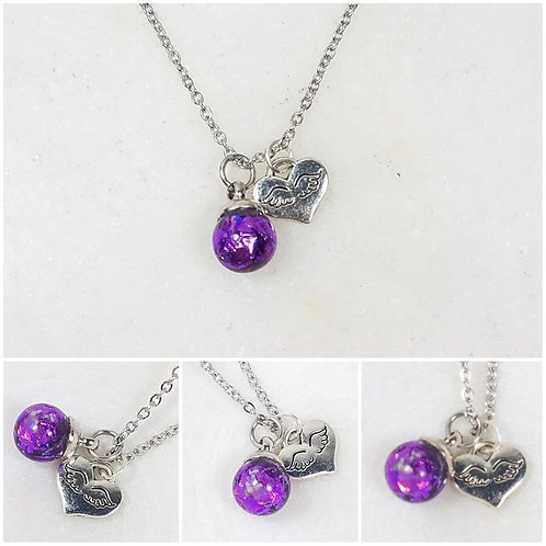 Small Glass Sphere Wing Heart Charm Memorial Ash Necklace /Memorial Pendant /Pet
