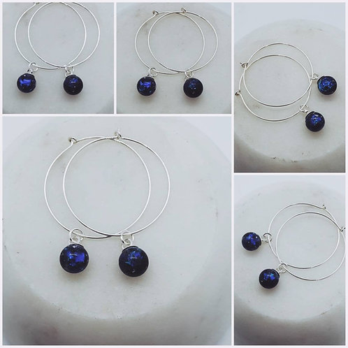 Memorial Ash Glass Sphere Earrings/Memorial Hoop Earrings/Pet Memorial/Cremation