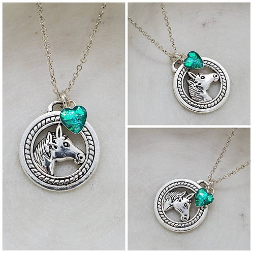Memorial Ash Silver Plated Horse Charm Sterling Silver Heart Bezel Pendant