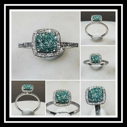 Memorial Ash Solitare 10kt White Gold Diamond Cremation Ring