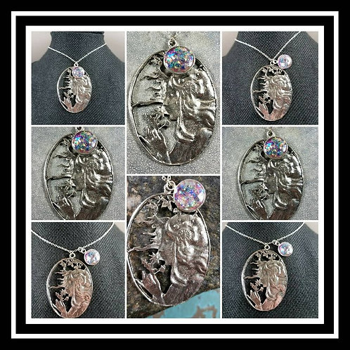 Dandelion Lady Memorial Ash Round Sterling Silver Pendant Necklace/Cremation Mem