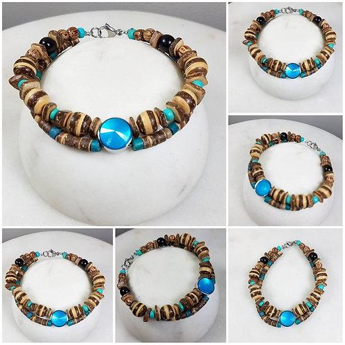 Memorial Ash Wood Beaded Bracelet/Cremation Charm Bracelet/Pet Memorial Jewelry/