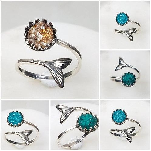 Memorial Ash Sterling Silver Mermaid Tail Wrap Druzy Stone Ring /Memorial Ash Cr