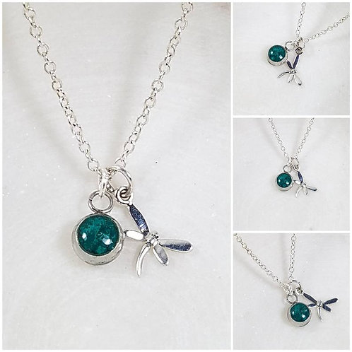 Memorial Ash Cremation Sterling Silver Dragonfly Pendant/Pet Memorial Jewelry/ M