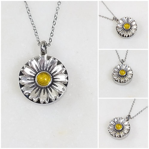Memorial Ash Stainless Steel Sterling Silver Daisy Flower Cremation Urn Necklace