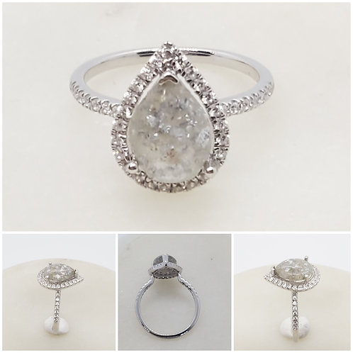 Sterling Silver Cubic Zirconia Pear Memorial Cremation Jewelry/ Ash Memorial Rin