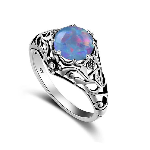 Memorial Ash Cremation Blue Fire Opal Sterling Silver Vintage Ring