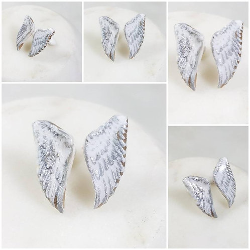 Memorial Ash Clay Angel Wings Earrings/Cremation Earrings/Pet Memorial Jewelry/C