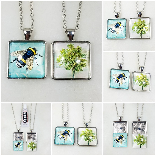 DYI Memorial Ash Cremation Tree or Bumblebee Photo Glass Pendant Necklace