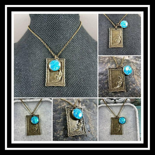 Memorial Ash Bronze Moon Pendant Necklace/Cremation Pendant/ Pet Memorial Jewelr