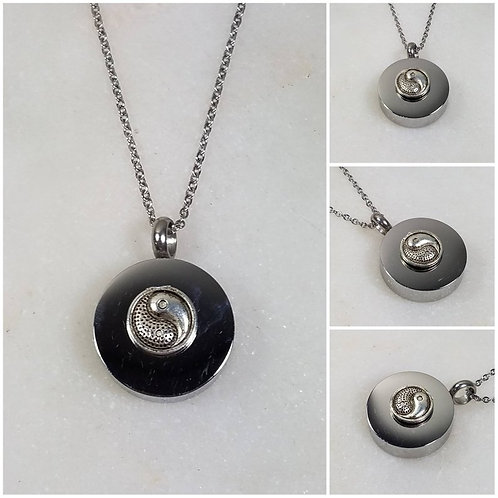 Memorial Ash Stainless Steel Cremation Yin Yang Urn Necklace/Cremation Pendant/C