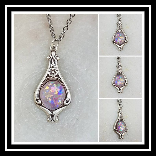 Memorial Ash Silver Plated Ornate Oval Pendant Necklace/Cremation Pendant/Pet Me