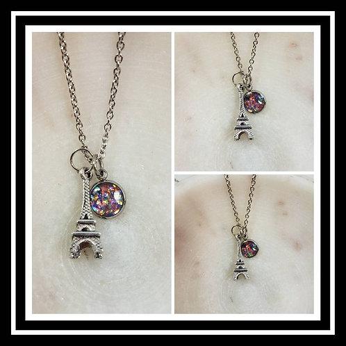 Memorial Ash Eiffel Tower Necklace/Cremation Pendant/ Pet Memorial Jewelry/ Memo