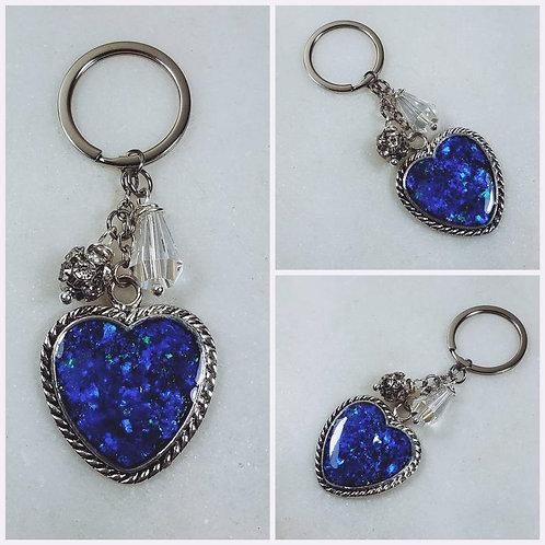 Memorial Ash Heart Key Chain/Cremation Keychain/Pet Memorial/Over 80 Color Optio