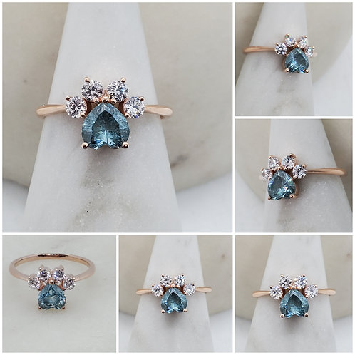 Memorial Cremation Ash Paw Heart Cubic Zirconia Ring