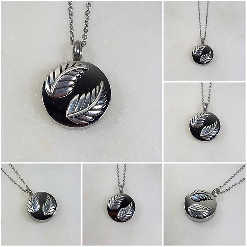 Memorial Ash Stainless Steel Sterling Silver Leaf Cremation Urn Necklace/Cremati