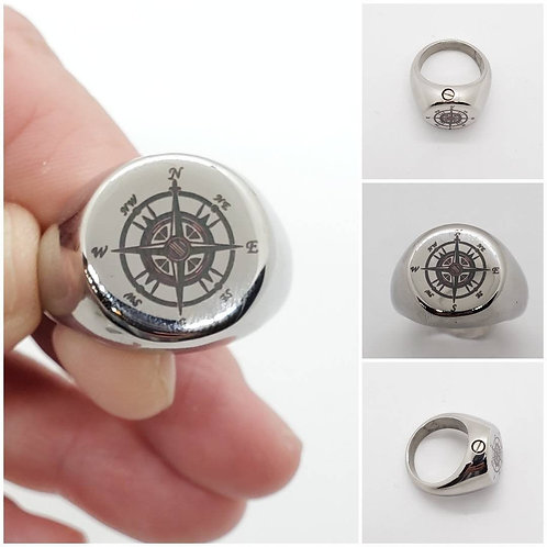 Memorial Ash Stainless Steel Compass Cremation Urn Ring/Urn/Cremation Ring