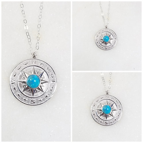Cremation Sterling Silver Compass Necklace