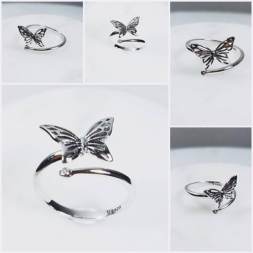 Studiodragonfly19 Gem Stone Memorial Ash Butterfly Cremation Ring /Memorial Ash