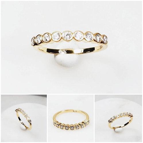 Studiodragonfly19 Memorial Cremation Ash 9 Diamond CZ Gold Ring