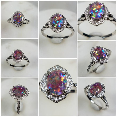 Memorial Ash Solitare 10kt White Gold Diamond Cremation Ring /Memorial Ash Crema