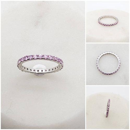Studiodragonfly19 Memorial Platinum Pink Sapphire Diamond Eternity Band Ring