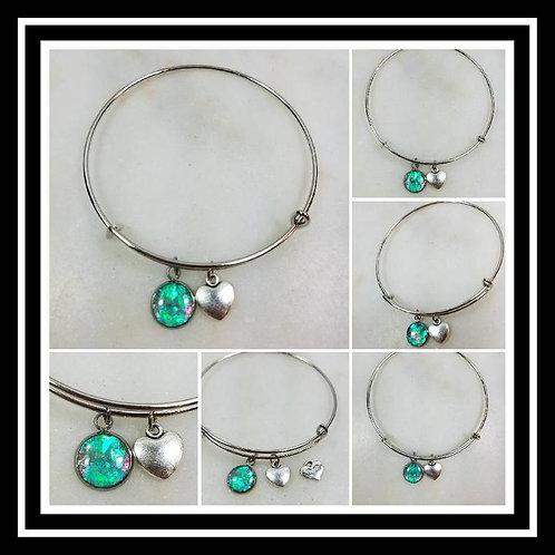 Memorial Ash Stainless Steel Bracelet Heart Charm/Cremation Charm Bracelet/Pet M