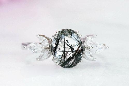 Studiodragonfly19 Memorial Ash Oval Rutilated Quartz Ring/Memorial Ash Jewelry