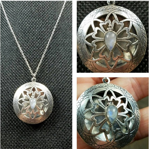 Memorial Ash Cremation Moonstone Locket