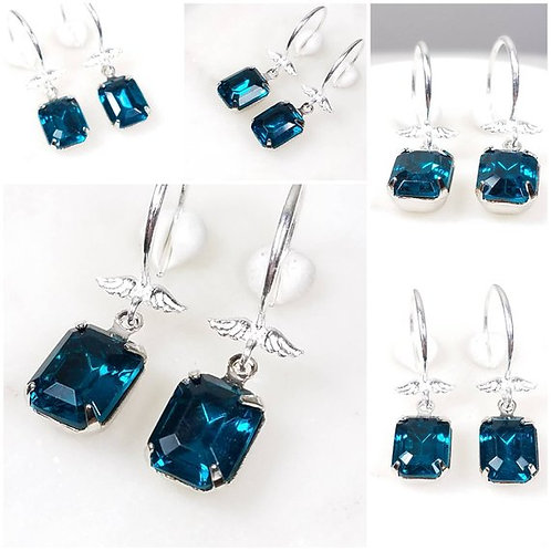 Studiodragonfly19 Cremation Silver Wing Vintage Blue Glass Stone Earrings