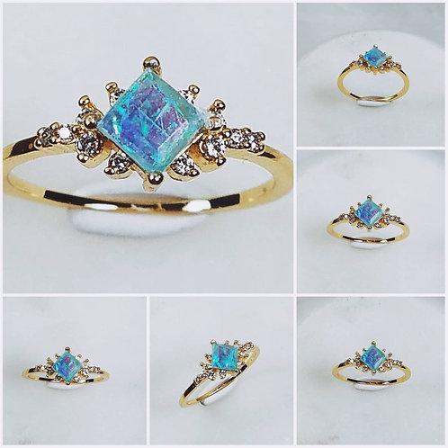 Memorial Ash Princess 10kt Gold CZ Cremation Ring /Memorial Ash Cremation Ring/P