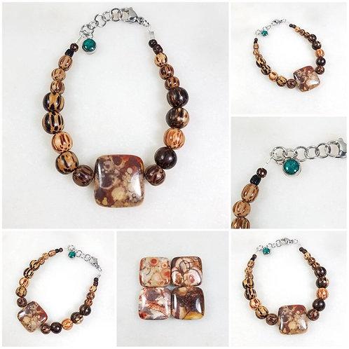 Memorial Ash Jasper and Wood Beaded Bracelet/Cremation Charm Bracelet/Pet Memori