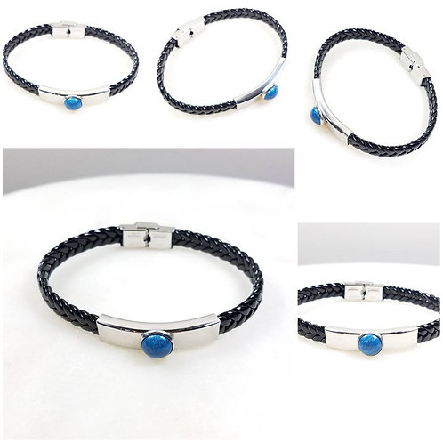 Memorial Ash Steel Leather Bracelet/Mens Cremation Bracelet/Unisex Pet Memorial